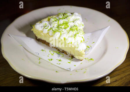 Key Lime Pie served in Charleston, South Carolina, USA. The dessert is popular is South Carolina. - Stock Photo