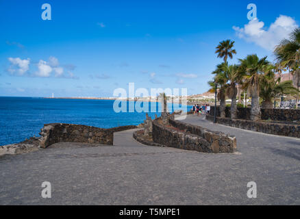 Playa Blanca, Lanzarote, Spain - APRIL 19, 2019: Promenade - Stock Photo