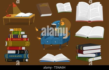 Stylish young female reading an open book. Lover of literature sits on the chair. Stack of encyclopedias and inverted pages. Symbols and objects in - Stock Photo