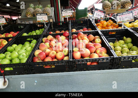 Fresh fruits, apples and pears and oranges being sold at Queen Victoria Market Melbourne Victoria Australia - Stock Photo