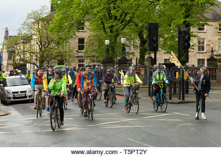 Lancaster, Lancashire, England, UK. 26th Apr, 2019. Morecambe Bay Extinction Rebels hold a Critical Mass Event starting in Dalton Square, Lancaster to increase awareness of the impacts of Climate Change and to seek drastic action to reduce the increase in CO2 levels. The aim is to dominate the streets with sustainable healthy travel, by cycling round the often gridlocked one way system in the City. Lancaster City Council declared a 'Climate Emergency' in January 2019. Credit: Keith Douglas News/Alamy Live News - Stock Photo