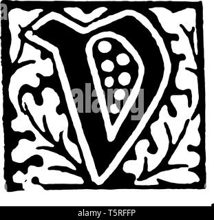 A picture of a decorative letter V with floral initial design, vintage line drawing or engraving illustration. - Stock Photo