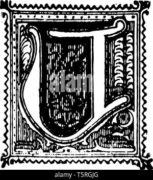 A picture of a decorative letter U with ornate initial with background, vintage line drawing or engraving illustration. - Stock Photo