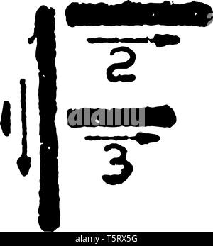 This is a picture of stroke technique for writing letter F in commercial gothic, vintage line drawing or engraving illustration. - Stock Photo