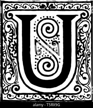 A picture of a decorative letter U with ornate initial with design, vintage line drawing or engraving illustration. - Stock Photo