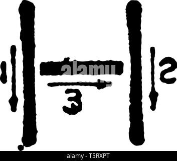 This is a picture of stroke technique for writing letter H in commercial gothic, vintage line drawing or engraving illustration. - Stock Photo