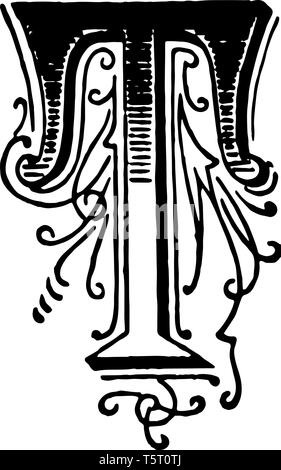 A picture of a decorative letter T with ornate initial, vintage line drawing or engraving illustration. - Stock Photo