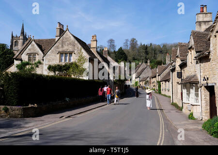 View of The Street and Cotswold stone cottages in Castle Coombe The Cotswolds Wiltshire England - Stock Photo