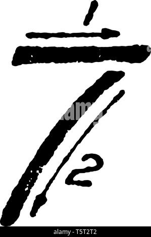 This is a picture of writing the inclined capital number 7 using proper strokes, vintage line drawing or engraving illustration. - Stock Photo
