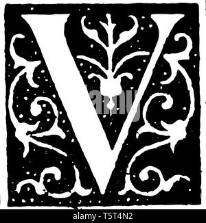 A picture of a decorative letter V with ornate initial, vintage line drawing or engraving illustration. - Stock Photo