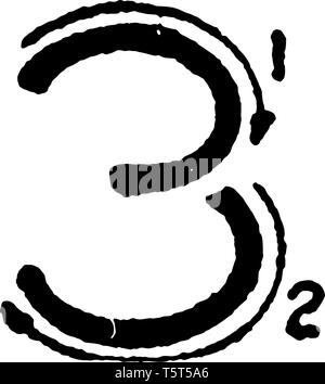 This is a picture of stroke technique for writing number 3 in commercial gothic, vintage line drawing or engraving illustration. - Stock Photo