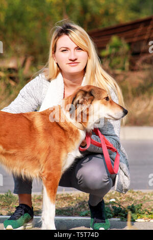 Pretty girl with his Shetland sheepdog dog at nature park outdoor is standing and posing in front of camera. Portrait of owner and Rough collie dog. - Stock Photo