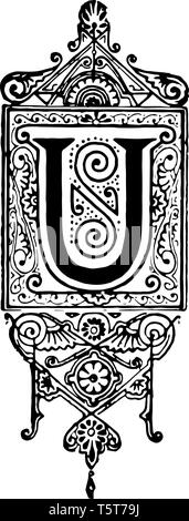 A picture of a decorative letter U with ornate initial with hanging clock design, vintage line drawing or engraving illustration. - Stock Photo