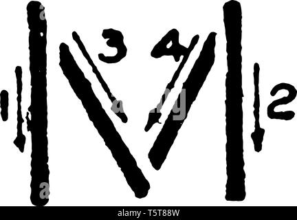 This is a picture of stroke technique for writing letter M in commercial gothic, vintage line drawing or engraving illustration. - Stock Photo