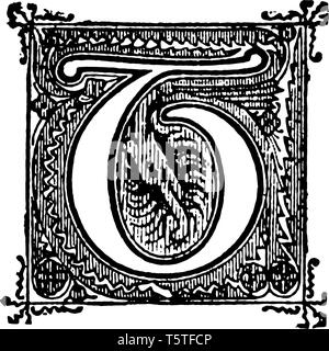 A picture of a decorative letter T with ornate design, vintage line drawing or engraving illustration. - Stock Photo