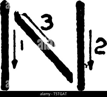 This is a picture of stroke technique for writing letter N in commercial gothic, vintage line drawing or engraving illustration. - Stock Photo