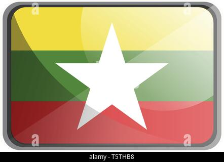 Vector illustration of Myanmar flag on white background. - Stock Photo