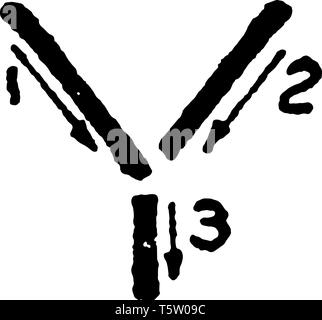 This is a picture of stroke technique for writing letter Y in commercial gothic, vintage line drawing or engraving illustration. - Stock Photo