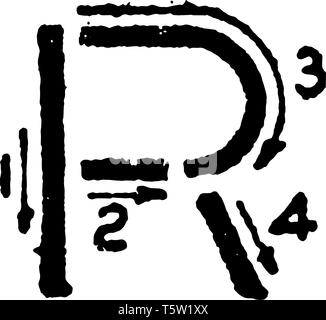 This is a picture of correct stroke technique for writing letter R in commercial gothic, vintage line drawing or engraving illustration. - Stock Photo