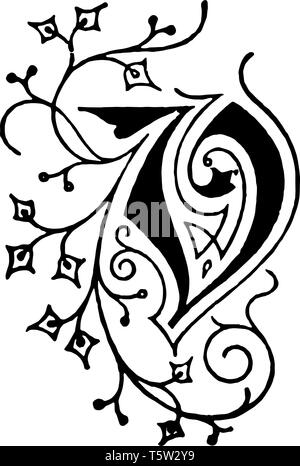 A picture of a decorative letter V with floral initial vines, vintage line drawing or engraving illustration. - Stock Photo