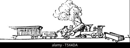 Train Accident is a type of disaster involving one or more trains, vintage line drawing or engraving illustration. - Stock Photo