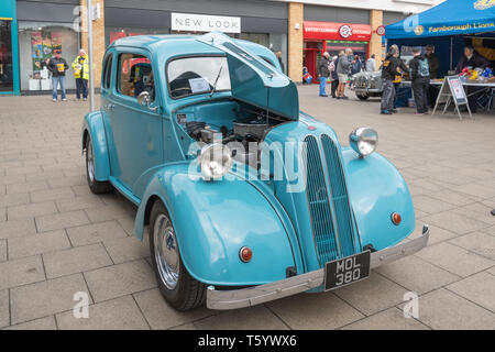 Blue 1952 Ford Anglia classic car on display in the Farnborough Classic Car Show during April 2019, Hampshire, UK - Stock Photo