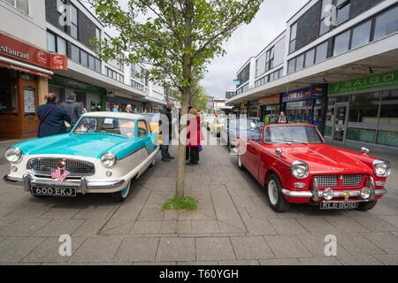 Farnborough Car Show, April 2019, classic motor vehicles on display in the town centre, Hampshire, UK - Stock Photo