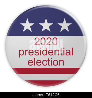 USA Politics News Badge: 2020 Presidential Election Button With US Flag, 3d illustration Isolated On White Background - Stock Photo