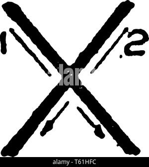 This is a picture of stroke technique for writing letter X in commercial gothic, vintage line drawing or engraving illustration. - Stock Photo