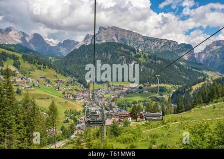 View at Santa Cristina in Val Gardena , Italy from a ski lift - Stock Photo
