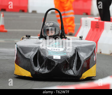 Greenpower Electric Car Racing come to Kingston upon Hull streets for the first ever street electric car race in Great Britain on the 28th April 2019 - Stock Photo