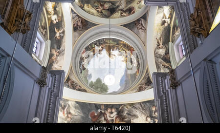 Madrid / Spain - 02 19 2017: Goya fresco painting at Royal Chapel of St. Anthony of La Florida near Madrid Rio park along the Manzanares river - Stock Photo