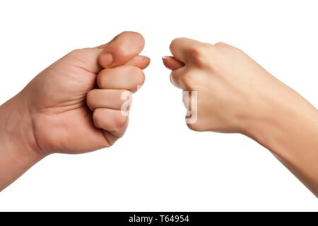 Hand power fist gesture isolated on white. - Stock Photo