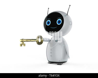 Online security concept with 3d rendering mini robot hold key - Stock Photo