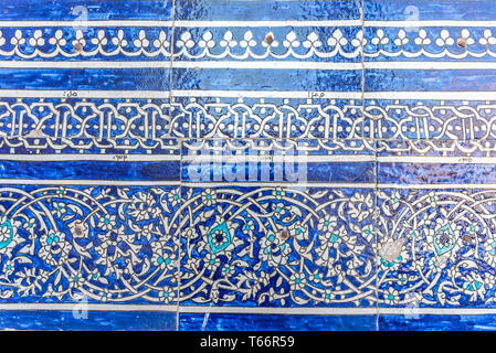 Details of glazed tiles in a mosque in Usbekistan. - Stock Photo