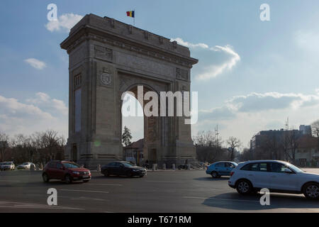 The Arcul de Triumf or Arch Of Triumph, Bucharest, Romania - Stock Photo