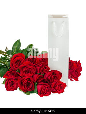 Gift Box and Bouquet from Roses Flowers Isolated on White. - Stock Photo