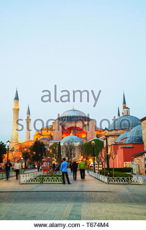 Hagia Sophia in Istanbul, Turkey early in the evening - Stock Photo