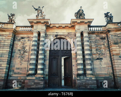 Rohan Palace gate with columns as entrance to Strasbourg city Archaeological Museum, Decorative Arts and Fine Art. - Stock Photo