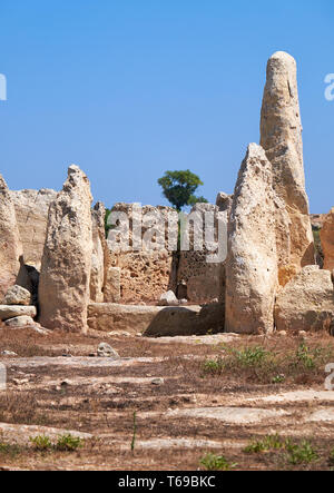 The orthostats forming the entrance to the Northen temple of Hagar Qim, Malta - Stock Photo