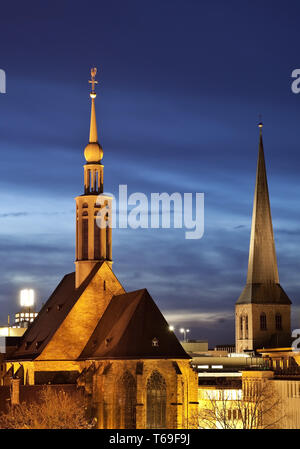 Provost Church and St. Peter's Church, Dortmund, Ruhr area, North Rhine-Westphalia, Germany, Europe - Stock Photo
