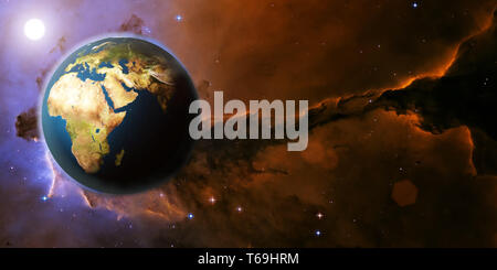 3D Rendering Earth planet from space on a star field and nebula backdrop with Africa continent, for science, business and space related backgrounds. E - Stock Photo