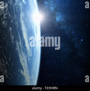 Earth planet from space on a star field and nebula backdrop, for science, business and space related backgrounds. Elements of this image furnished by  - Stock Photo