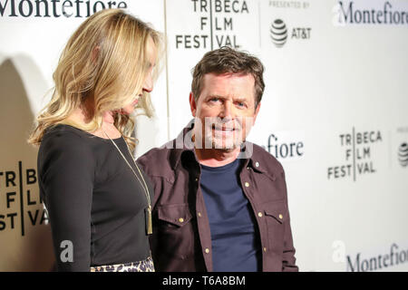 New York, New York, USA. 30th Apr, 2019. Tracy Pollan and Michael J. Fox attend red carpet for the Tribeca Talks - Storytellers - 2019 Tribeca Film Festival at BMCC Tribeca PAC on April 30, 2019 in New York City. Credit: William Volcov/ZUMA Wire/Alamy Live News - Stock Photo