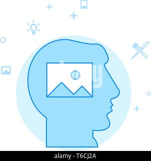 Visualize Flat Vector Icon. Design and Creativity Illustration. Light Flat Style. Blue Monochrome Design. Editable Stroke. Adjust Line Weight. - Stock Photo