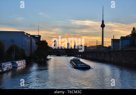 sunset over the river Spree in Berlin - Stock Photo