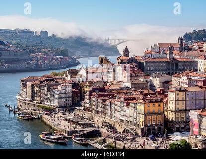 Douro River and Cityscape of Porto, elevated view, Portugal - Stock Photo