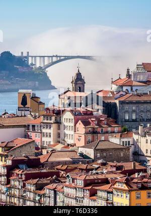 View towards Arrabida Bridge, Porto, Portugal - Stock Photo