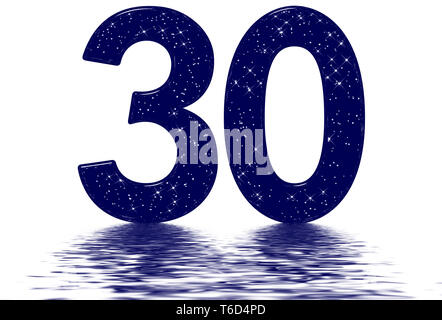 Numeral 30, thirty, star sky texture imitation, reflected on the water surface, isolated on white, 3d render - Stock Photo