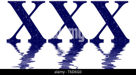 Roman numeral 30, thirty, star sky texture imitation, reflected on the water surface, isolated on white, 3d render - Stock Photo